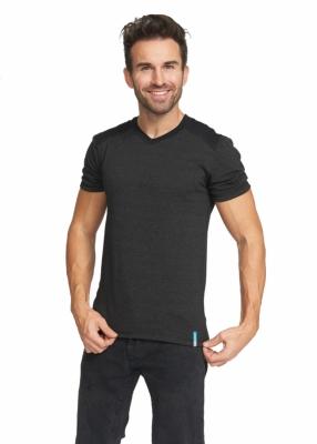Strahlenschutz V-Neck Kurzarm-Shirt für Herren - schwarz