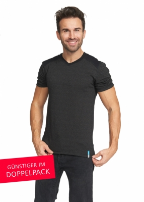 Strahlenschutz V-Neck Kurzarm-Shirt für Herren - schwarz - Doppelpack
