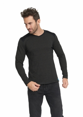 Strahlenschutz V-Neck Shirt langarm für Herren - schwarz