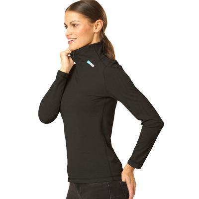 Strahlenschutz Langarm-Shirt mit Stehkragen für Damen - schwarz