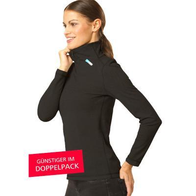 Strahlenschutz Langarm-Shirt mit Stehkragen für Damen - schwarz - Doppelpack