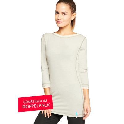 Strahlenschutz Langarm-Longshirt für Damen - beige - Doppelpack
