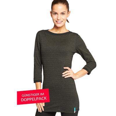 Strahlenschutz Langarm-Longshirt für Damen - schwarz - Doppelpack