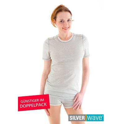 Strahlenschutz Basic Kurzarm-Shirt für Damen - beige - Doppelpack