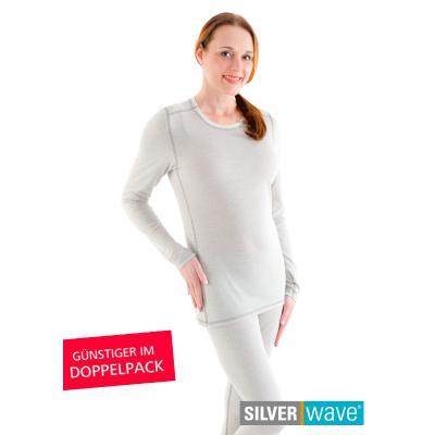 Strahlenschutz Basic Langarm-Shirt für Damen - beige - Doppelpack