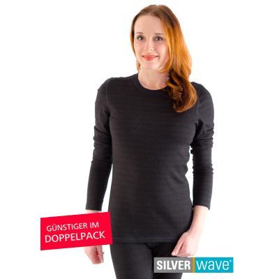 Strahlenschutz Basic Langarm-Shirt für Damen - schwarz - Doppelpack