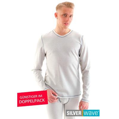 Strahlenschutz Basic Langarm-Shirt für Herren - beige - Doppelpack