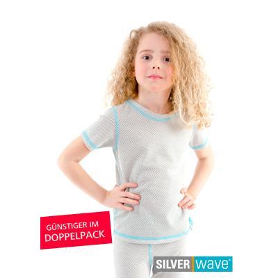 Strahlenschutz Kurzarm-Shirt für Mädchen - beige - Doppelpack