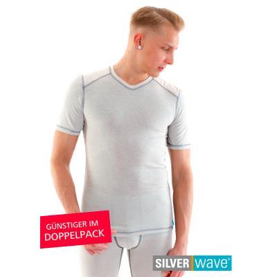 Strahlenschutz V-Neck Kurzarm-Shirt für Herren - beige - Doppelpack