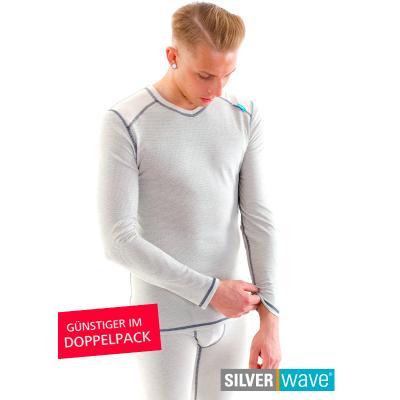 Strahlenschutz V-Neck Shirt langarm für Herren - beige - Doppelpack