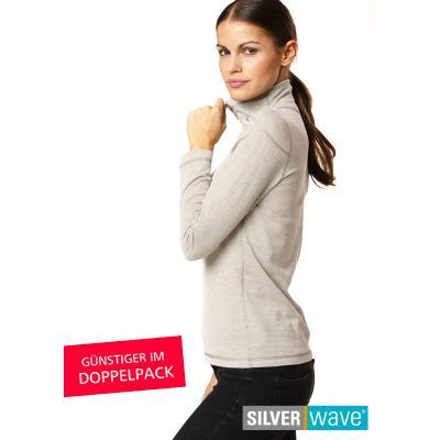 Strahlenschutz Langarm-Shirt mit Stehkragen für Damen - beige - Doppelpack
