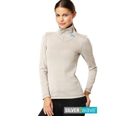 Strahlenschutz Langarm-Shirt mit Stehkragen für Damen - beige