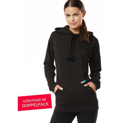 Strahlenschutz Langarm-Shirt mit Kapuze für Damen - schwarz - Doppelpack