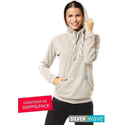 Strahlenschutz Langarm-Shirt mit Kapuze für Damen - beige - Doppelpack