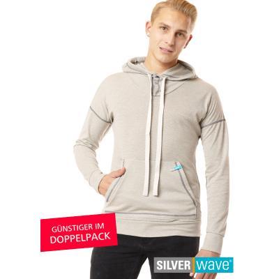 Strahlenschutz Langarm-Shirt mit Kapuze für Herren - beige - Doppelpack