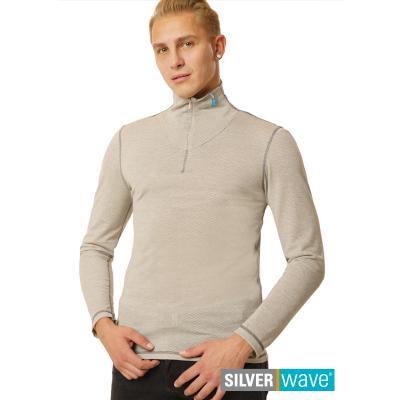 Strahlenschutz Langarm-Shirt mit Stehkragen für Herren - beige