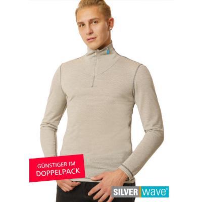 Strahlenschutz Langarm-Shirt mit Stehkragen für Herren - beige - Doppelpack