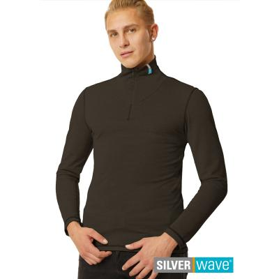 Strahlenschutz Langarm-Shirt mit Stehkragen für Herren - schwarz