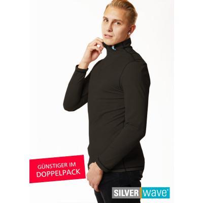 Strahlenschutz Langarm-Shirt mit Stehkragen für Herren - schwarz - Doppelpack
