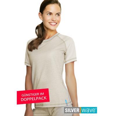 Strahlenschutz Raglan Kurzarm-Shirt für Damen - beige - Doppelpack
