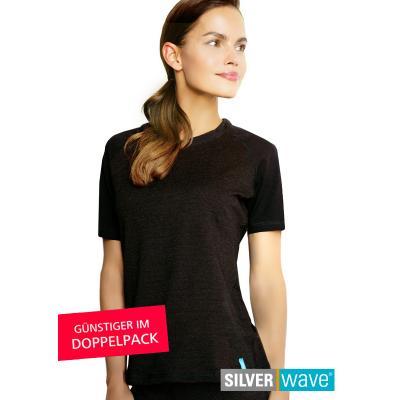 Strahlenschutz Raglan Kurzarm-Shirt für Damen - schwarz - Doppelpack